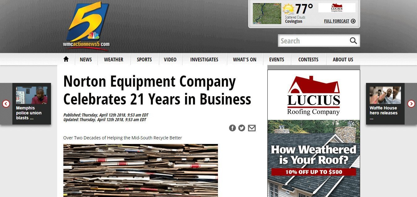"""Featured image for """"Norton Equipment Company Celebrates 21 Years in Business"""""""